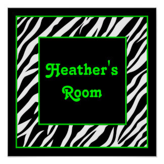 Personalized Kids Wall Decor - Zebra & Lime Green Poster