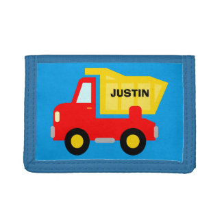 Personalized kids wallet with toy dump truck