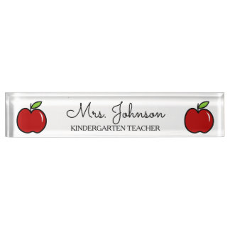 Personalized kindergarten teacher red apple icon nameplate