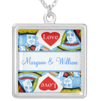 Personalized King Queen Hearts Love Jewelry