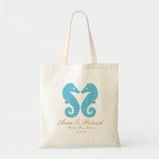 Personalized Kissing Seahorses-Destination Wedding Tote Bag