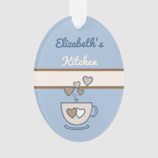 Personalized kitchen coffee quote blue ornament