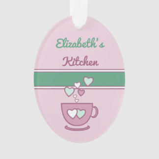 Personalized kitchen coffee quote pink and green ornament