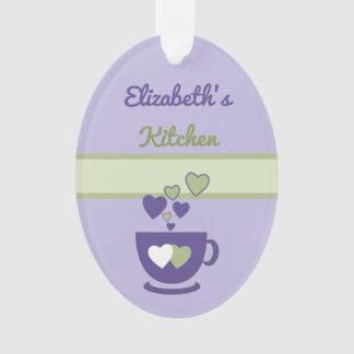 Personalized kitchen coffee quote purple ornament