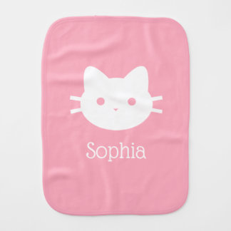 Personalized Kitty Cat Pink Burp Cloth
