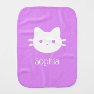 Personalized Kitty Cat Purple Burp Cloth
