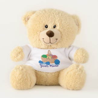 Personalized Knitting Colorful Yarn Basket Teddy Bear