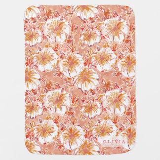 Personalized KOMBUCHA-CHA Peach Tropical Hibiscus Baby Blanket