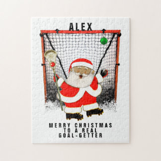 personalized lacrosse Christmas Jigsaw Puzzle