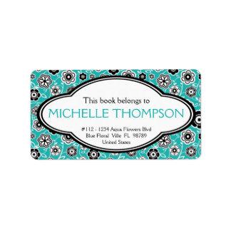 Personalized Ladies Doodle Flowers Bookplate Aqua Label