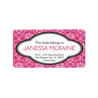 Personalized Ladies Pink Floral Book Plate Sticker Address Label