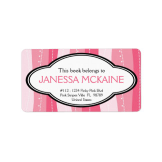 Personalized Ladies Pink Wavy Stripes Book Plate Label
