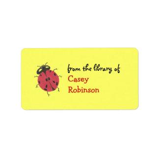 Personalized ladybug bookplate - yellow address label