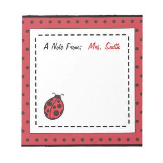 Personalized Ladybug Notepad