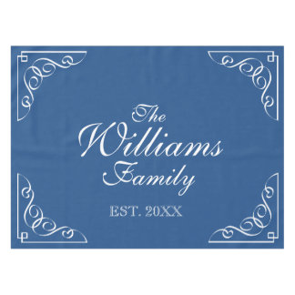 Personalized last name blue and white table cloth tablecloth