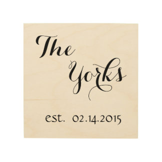 Personalized Last Name & Est. Date Wood Canvas