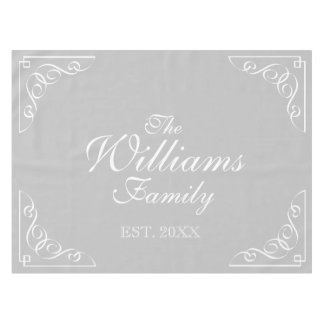 Personalized last name gray and white table cloth