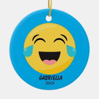 Personalized Laughing Out Loud Emoji Ornament
