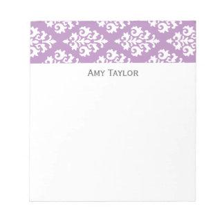 Personalized Lavender Damask Pattern Notepad
