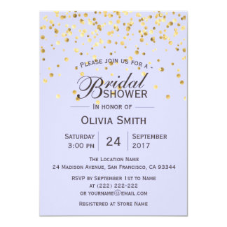 Personalized Lavender Gold Bridal Shower Invites