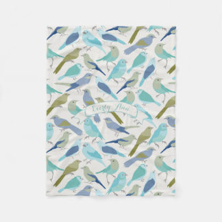 Personalized Lavender Serenity Blue Bird Pattern Fleece Blanket