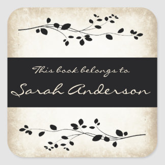 Personalized Leafy Vine Design Bookplate Sticker