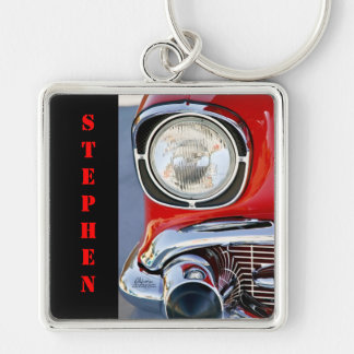 Personalized Leather & Lace Classic Car Silver-Colored Square Key Ring