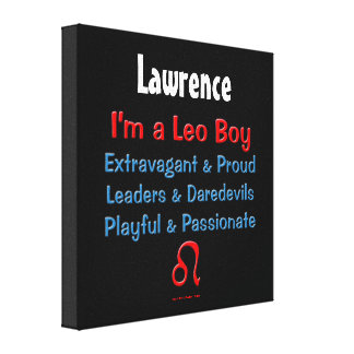 Personalized Leo Boy Zodiac Canvas Wrap