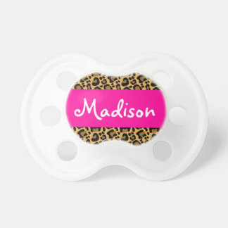 Personalized Leopard Hot Pink Baby Pacifiers