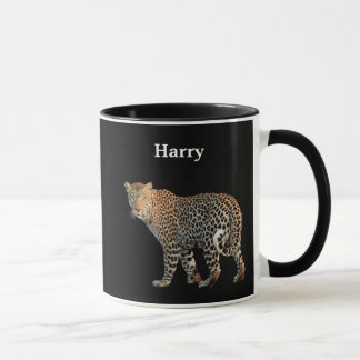 Personalized Leopard On Black Mug