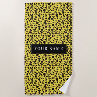 Personalized leopard pattern wild animal print beach towel