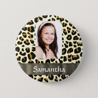 Personalized leopard print 6 cm round badge