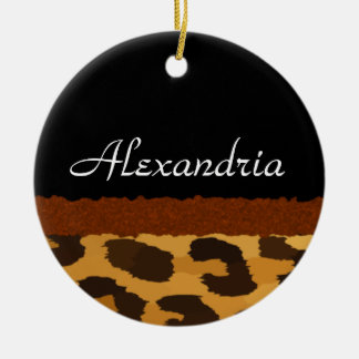 Personalized Leopard Print Merry Christmas Ceramic Ornament