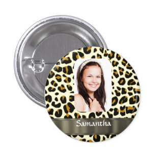 Personalized leopard print photo template 3 cm round badge