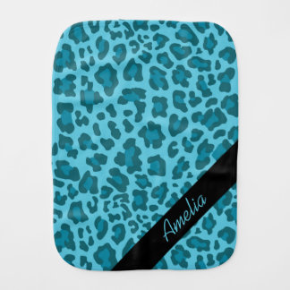 Personalized Leopard Shades of Blue Burp Cloth