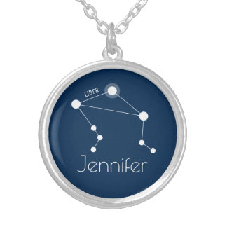 Personalized Libra Zodiac Constellation Silver Plated Necklace