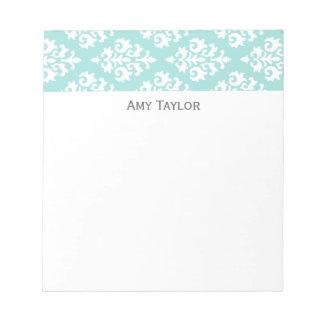 Personalized Light Aqua Damask Pattern Notepad