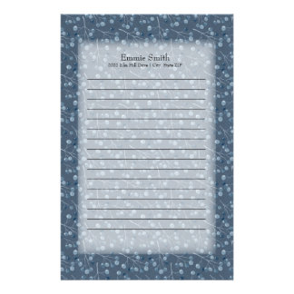 Personalized Light Blue Berries on Dark Blue Stationery