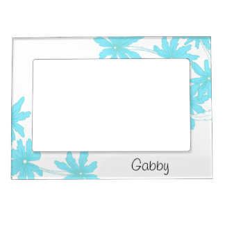 Personalized Light Blue Daisies Picture Frame Frame Magnet