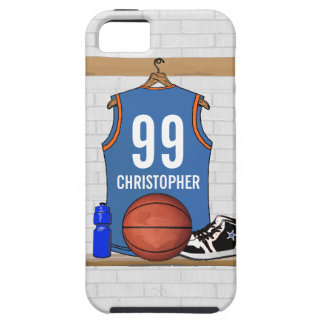 Personalized Light Blue Orange Basketball Jersey Tough iPhone 5 Case