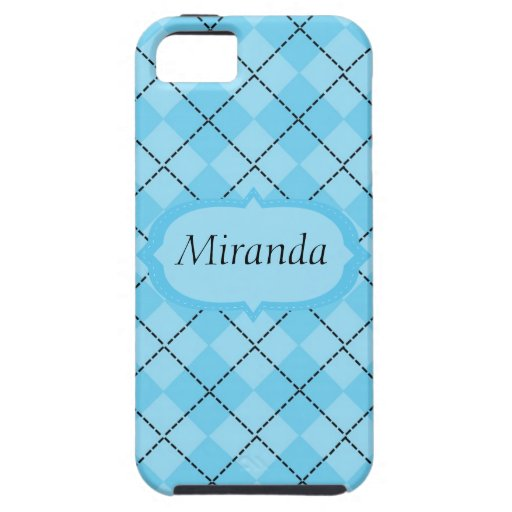 Personalized Light Blue Plaid iPhone 5 Covers