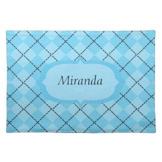 Personalized Light Blue Plaid Placemat Cloth Place Mat