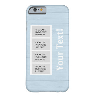 Personalized Light Blue Wood Photo Booth Barely There iPhone 6 Case