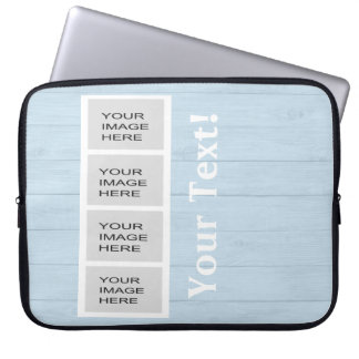 Personalized Light Blue Wood Photo Booth Laptop Sleeves