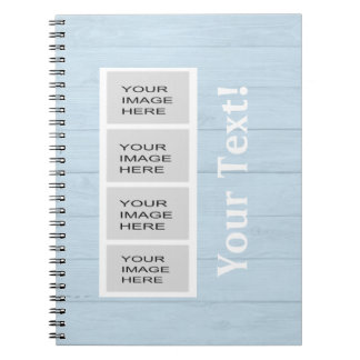 Personalized Light Blue Wood Photo Booth Notebook