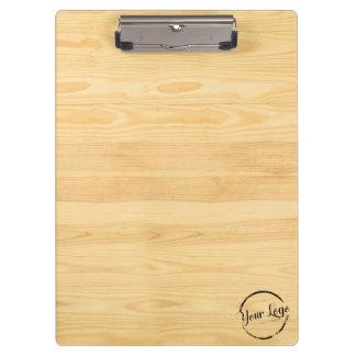 Personalized light woodgrain clipboard