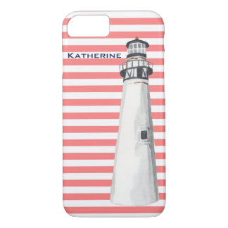 Personalized Lighthouse on Coral Stripe iPhone 8/7 Case