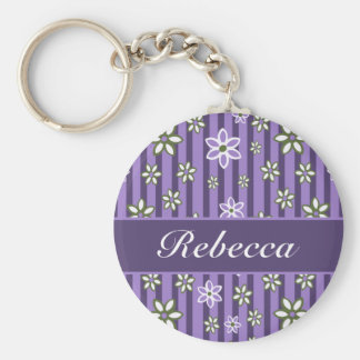 personalized Lilac Amethyst green floral pattern Key Ring