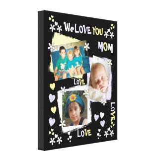 Personalized lilac We Love You Mom Photo Canvas Print
