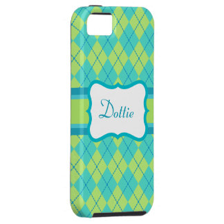 Personalized Lime Argyle  iPhone 5 Case